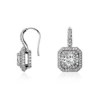 Round Cut Diamond Double Halo Drop Earrings in 9k White Gold (1.20ct tw)