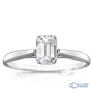 Emerald Cut Solitaire Diamond Ring (Em-0.41ct tw)