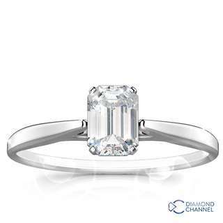 Emerald Cut Diamond Solitaire Engagement Ring (0.71ct tw)