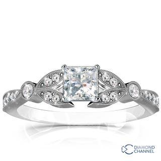 Petite Vintage Pave Leaf Diamond Engagement Ring (0.73ct tw)