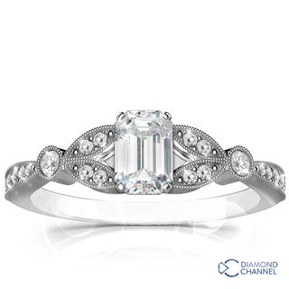 Petite Vintage Leaf Diamond Engagement Ring (0.58ct tw)