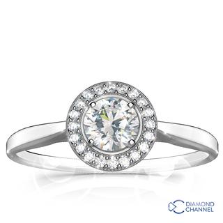 c743c44267d 9k White Gold Engagement Diamond Ring Plain Shank Milgrain Halo Engagement  Ring (0.63ct tw) R19