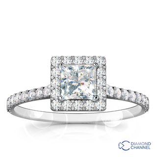 Princess Cut Halo Diamond Engagement Ring (0.67ct tw)