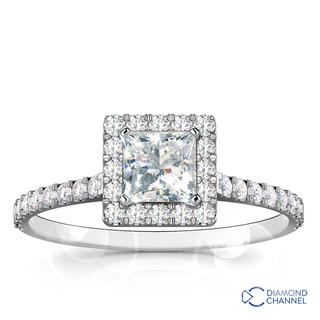 Princess Cut Halo Diamond Engagement Ring (0.67ct tw)