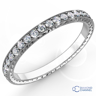 Engraved Micropave Diamond Ring in 9K White Gold (0.23ct tw)