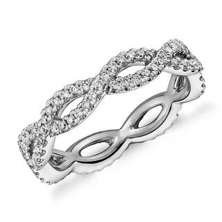 Infinity Twist Micropave Diamond Wedding Ring in 9K White Gold (0.50Ct tw)