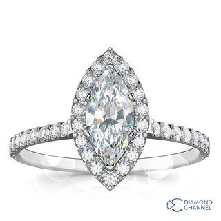Marquise Cut Halo Diamond Engagement Ring (0.71ct tw)