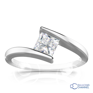 Split Shank Princess Cut Engagement Ring  (PR-0.45ct)