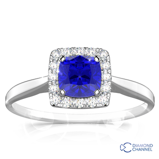 Cushion Tanzanite And Diamond Halo Ring (2.00ct tw)
