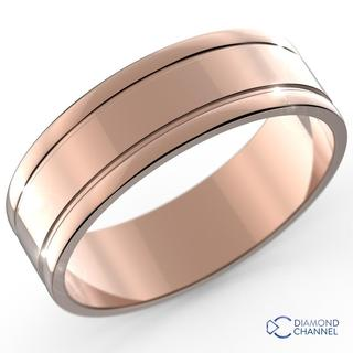 7mm Square Edge Grooved Wedding Ring