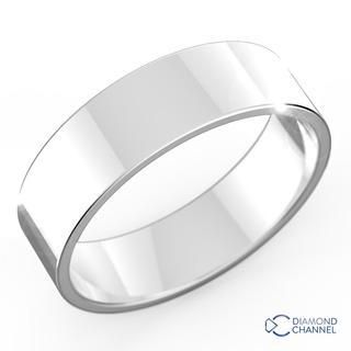 Flat Wedding Band In 9K White Gold (5mm)