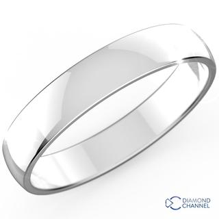 Comfort Fit Wedding Band In 9k White Gold (4mm)