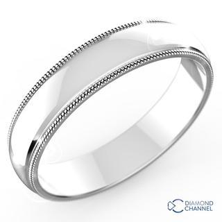 Milgraine Comfort Fit Wedding Ring In 9k White Gold (5mm)