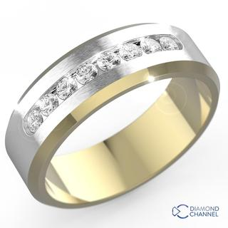 Diamond Channel Set Wedding Ring In 9k Yellow And White Gold 0 35