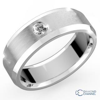 Single Diamond Wedding Ring In 9k White Gold (0.10ct tw)6mm