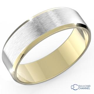 Brushed Beveled Edge Wedding Ring In 9k White And Yellow Gold (7mm)