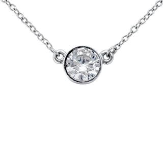 Bezel Set Solitaire Pendant in 9K White Gold (0.20ct tw)