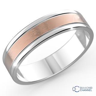 Brushed Bevelled Edge Ring In 9k White And Rose Gold (7mm)
