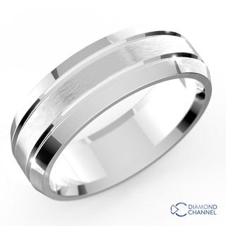 Double Inlay Comfort Fit Wedding Ring In 9k White Gold (7mm)