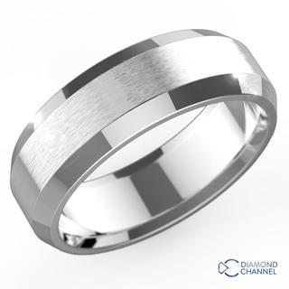 Bevelled Edge Matte Wedding Band In 9K White Gold (6mm)