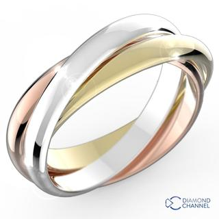 Trio Colour Ring In 9k Trio Colour Gold (3mm Each Band)