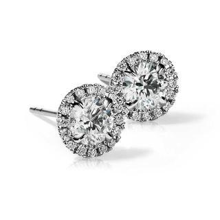 Halo Diamond Stud Earrings in 9K White Gold (0.83ct tw.)