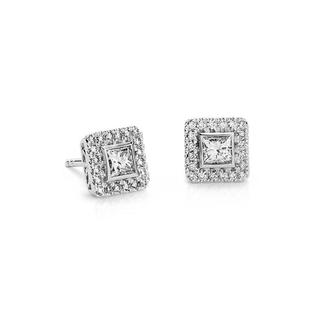 Princess Cut Halo Diamond Earrings in 9K White Gold (0.70ct tw)