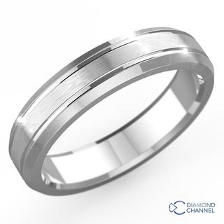 Double Inlay Comfort Fit Wedding Ring In 9k White Gold (6mm)