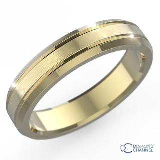 4.5mm Brushed Inlay Bevel Edge Wedding Ring