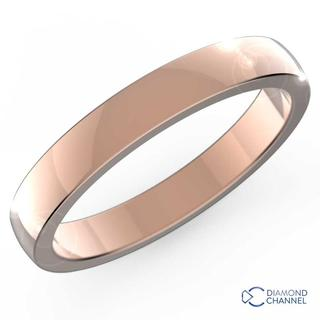 Low Dome Comfort Fit Wedding Ring In 9K Rose Gold (3mm)