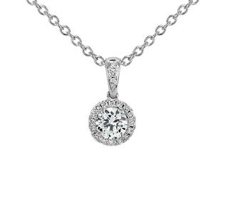Halo Diamond Pendant in 9K White Gold (0.40ct tw)