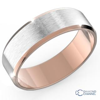 Brushed Bevelled Edge In 9K White And Rose Gold(6mm)