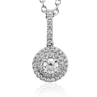 Double Halo Round Diamond Pendant in 9K White Gold (0.54ct tw)
