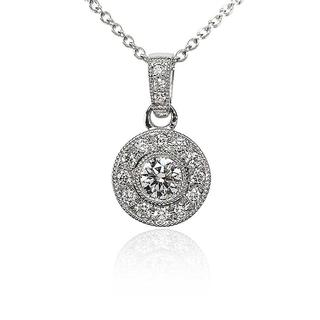 Vintage -Style Halo Diamond Pendant in 9K White Gold (0.41ct tw)