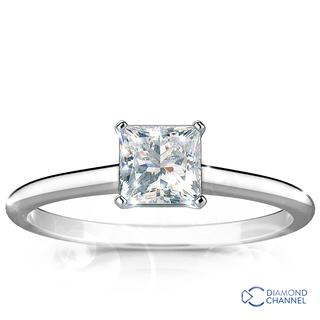Petite Princess Cut Solitaire Engagement Ring (PR-0.37ct tw)