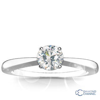 Classic Tapered Four Claw Engagement Diamond Ring (RBC-0.41ct tw)