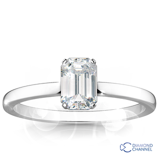 Emerald Cut Solitaire Diamond Ring (Em-0.36ct tw)