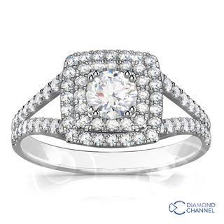 Double Halo Diamond Engagement Ring (1.21ct tw)