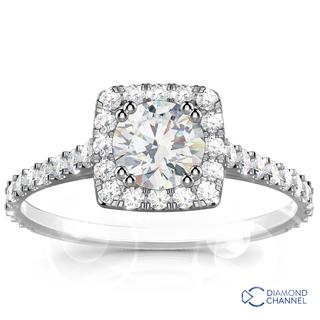 Cushion Halo Diamond Engagement Ring (0.82ct tw)