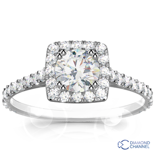 Cushion Halo Diamond Engagement Ring (0.82ct tw)