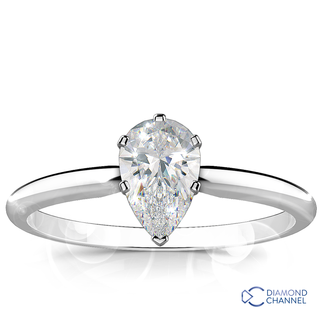 Pear Shape Solitaire Diamond Engagement Ring (0.51ct tw)