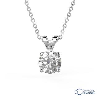 Double Bail Solitaire Pendant in 9K White Gold (0.40ct tw)