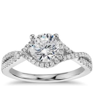 Twisted Halo Diamond Ring In 9K White Gold(0.96ct tw)