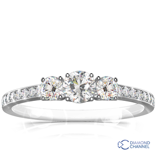 Trilogy Diamond Engagement ring  (0.74ct tw)
