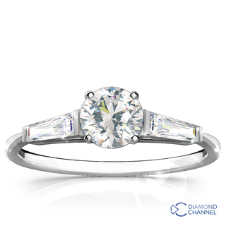 Tapered Baguette Diamond Engagement Ring in 18k White Gold (0.84ct tw)