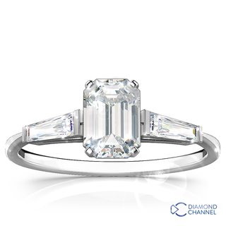 Three Stone Diamond Ring In 9k White gold(0.46ct tw)