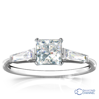 Three Stone Princess Cut Tapered Baguettes Engagement Ring(0.61ct tw)