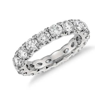 Scalloped Four Claw Diamond Eternity Ring In 9k White Gold (0.50ct tw)