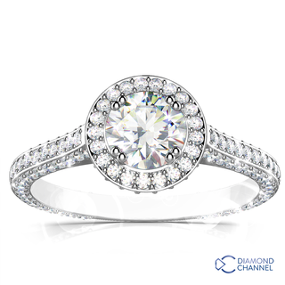 Halo Micropave Diamond Engagement Ring  (1.38ct tw)