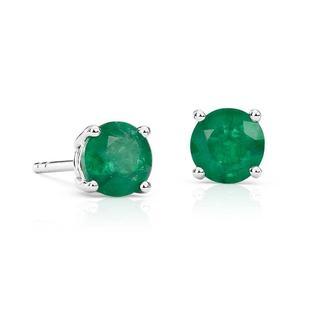 Emerald Stud Earrings in 9k White Gold (5mm)